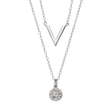 Crystal Sterling Silver Disc & V Necklace Set (Grey)