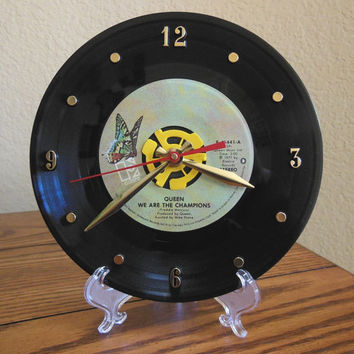 "QUEEN 45rpm Record Clock 7"" For Desk or Wall (We Are The Champions) - Stand Included"