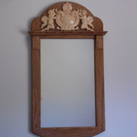 Woodworking Mirror, Cherub Applique Mirror,  Antique Wall Mirror, Vintage Large Oak Mirror, 34 x 18 inches.