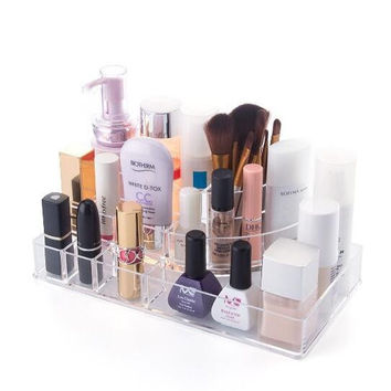 Acrylic Jewelry and Cosmetic Storage Makeup Organizer - High Quality Transparent Acrylic Material Cosmetic Organizer with 10 Compartments
