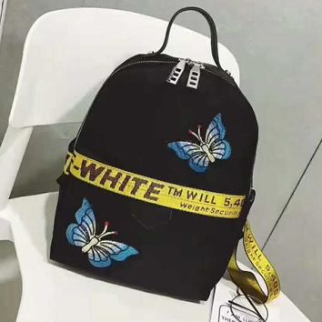 OFF WHITE Black butterfly embroidery Laptop Bag Shoulder School Bag Backpack H-A-GHSY-1