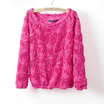 pullover women 3D flowers sweater three dimensional roses wrist sleeve pullover sweater women