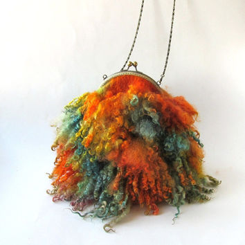 Fringe  purse Curly handbag Felt purse Small purse crossbody bag Colorful Fringed bag Real Fur handbag Orange Green Blue  curly wool locks