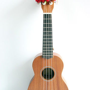 ukulele item  / Ribbon lei for ukulele / red flower / ukulele gift /  ukulele accessories /
