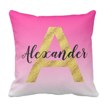 Faux Gold Glitter Initial Letter A Pink Gradient Throw Pillow