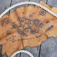 Peter Pan Neverland Leather Burned Treasure Map Small Size