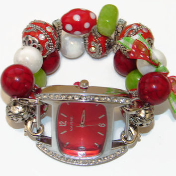 Christmas Joy Chunky Beaded Watch - Interchangeable Watch - Unique Gift - Teacher Christmas Gift - BeadsnTime - Christmas Watch for Her