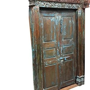 Mogul Interior Mogulinterior Antique Jaipur OM Carved Doors Blue Patina Teak Doors & Frame