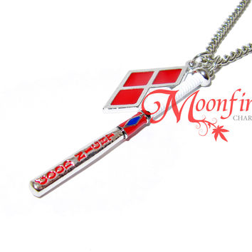 Harley Queen Good Night Baseball Bat Pendant Necklace