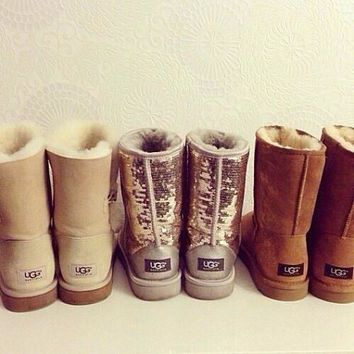 UGG Short boots antiskid warm lazy sheep fur simple ugg boots canister boots (5-color)