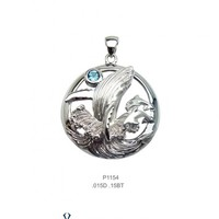 Artistica Diamond and Ocean Blue Topaz Whale Pendant
