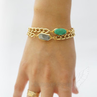 "Chunky Chain with Wirewrapped Aquamarine, 6.75"", 2"" Extension, Bracelet"