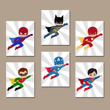 SUPERHERO Wall Art, INSTANT DOWNLOAD Superhero Wall Decor, Digital files, Set of 6 8x10 inch, Superhero Bedroom Wall Decor