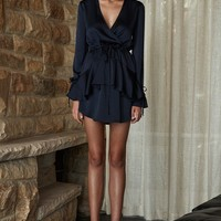 DELILAH TIE SLEEVE DRAWSTRING MINI DRESS - NAVY