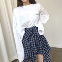 Buy Princessy Long-Sleeve T-Shirt / Mock Plaid Shirt Mini Skirt | YesStyle