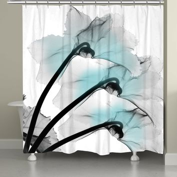 Blue Orchid X-Ray Flowers Shower Curtain