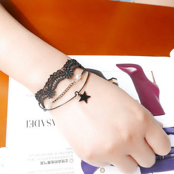 Great Deal Shiny New Arrival Hot Sale Gift Awesome Korean Stylish Ladies Vintage Lace Pendant Bracelet [7587087303]
