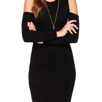 Black Shoulder Cutout Long Sleeve Mini Bodycon Dress