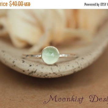 ON SALE Delicate Spring Green Prehnite Promise Ring or Engagement Ring - Prehnite Bezel-Set Solitaire in Sterling - Unique Engagement Ring