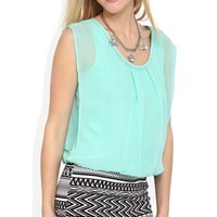 Sleeveless Blouson Dress with Tribal Printed Banded Skirt