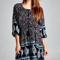 Ethnic Print Tunic Dress - Navy/Jade