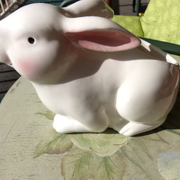 1980's White rabbit planter, candy dish, Easter Decor, gift  for her