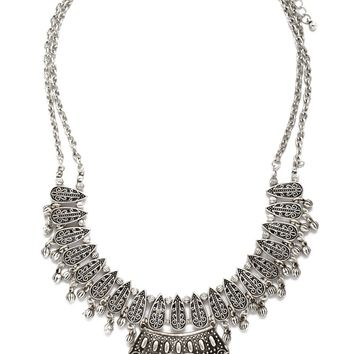 Etched Beaded Bib Necklace