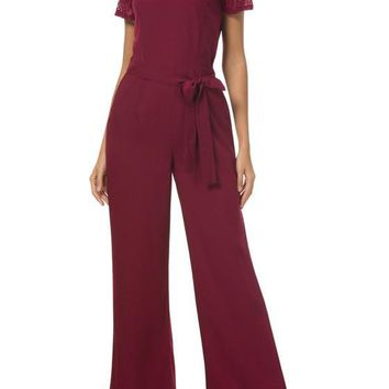 Burgundy Patchwork Lace Sashes Cut Out High Waisted Wide Leg Party Long Jumpsuit