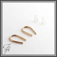 Gold Bar Earrings,Plain Round Bar Studs,Minimalist Gold Line Earrings,Horseshoe Earrings,Gold Arc Earrings,Wishbone Earrings,Modern Chic