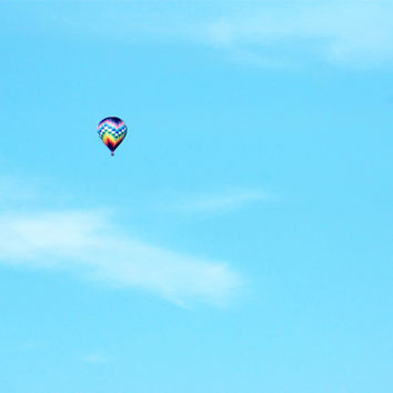 Hot Air Balloon Print - Hot Air Balloon Photography, Blue Sky - Minimalist, Zen, Whimsical - Nursery Decor