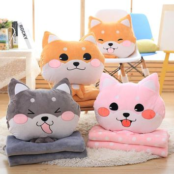 Cartoon dog plush pillow shiba inu toys for children gift Contain Plush Flannel blanket Bedroom cushion
