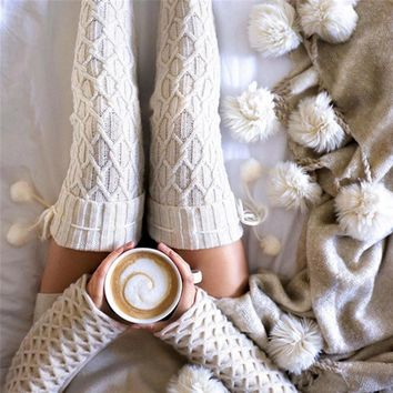 Cable Knitted Long Boot Socks Over Knee Boot Cuffs