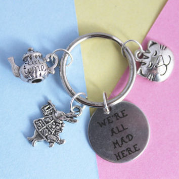 Alice in Wonderland, We're all mad here, Disney, Disney Gift, Mad Hatter, White Rabbit, Keychain, Quirky Gift