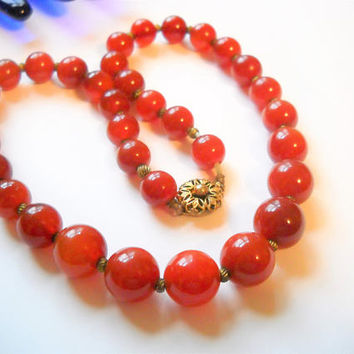 Vintage Necklace Carnelian Graduated Bead Necklace Art Deco Vintage China Flower Gold Tone Clasp Statement Necklace