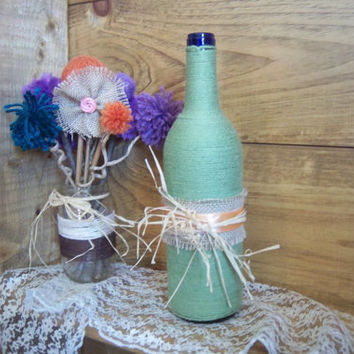 Mint Green Yarn Wrapped Wine Bottle-Beautiful Wedding Decoration-Table Decoration-Vase-Centerpiece
