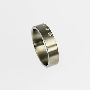 Titanium wedding band, diamond ring, modern wedding ring, mens titanium ring, men diamond band, mens wedding ring, promise, modern, unique