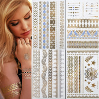 Metallic Gold & Blue Body Jewelry Temporary Tattoos 4 Sheets Pack