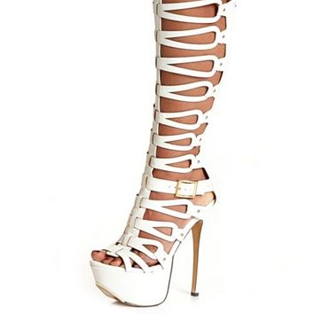 STRAPPY KNEE HIGH GLADIATOR HEELS