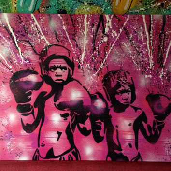 Boxers guard ya grill painting,pink,black,custom,stencils,urban art,graffiti art,canvas,boxing,design,home,living,wall art,custom,kids,sport