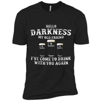 Hello-Darkness-My-Old-Friend-Shamrock-Beer-Funny-St-Patrick Next Level Premium Short Sleeve Tee