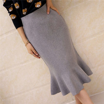 new fashion women Sweater girls knitted slim hip medium skirt female high waist fish tail ruffle skirt Solid color clothing