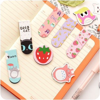 Kawaii Cute Cartoon Lovely Cat Magnetic Metal Paper Clip Animal Gift Bookmark For Kid Sthdent School Office Supplies Stationery