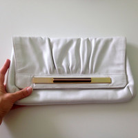 White Leather Clutch Purse, Envelope Wallet, Leather Slim Wallet, Vintage 80s Clutch Wallet, White and Gold Leather Bag, Handbag Organizer