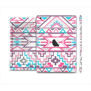 The Vector Pink & White Modern Aztec Pattern Skin Set for the Apple iPad Mini 4