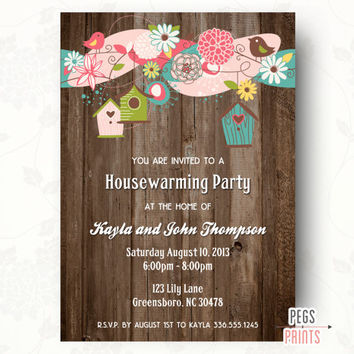 Wood Housewarming Party Invitation (Printable) Rustic Housewarming Party Invite