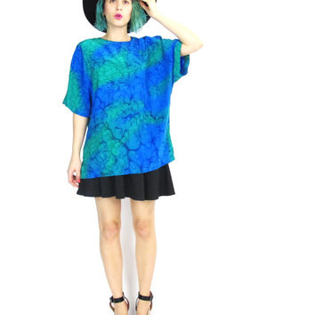 80s Watercolor Silk Blouse Tie Dye Abstract Print Vintage Silk Tshirt Short Sleeve Silk Top Blue Green Hippie Boho Matching Outfit (M/L)