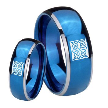 His Her Glossy Blue Dome Square Celtic Two Tone Tungsten Wedding Rings Set