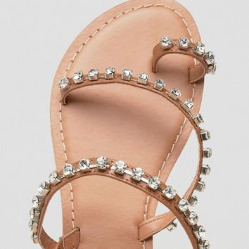 ASOS FAITHFULLY Embellished Leather Flat Sandals at asos.com