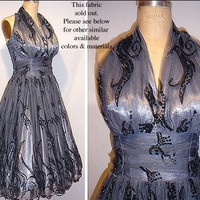 GORGEOUS 40s 50s style HALTER Dress Authentic vintage style Many fabrics to choose from... So Flattering