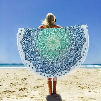 Indian Round New Ombre Mandala Tapestry Wall Hanging Beach Throw Yoga Mat Towel Cloth